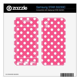 Pink white polka dots samsung STAR S5230C skin