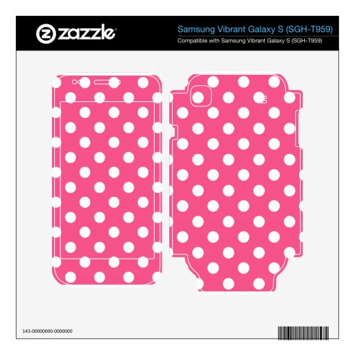 Pink white polka dots samsung vibrant skins
