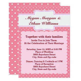 Pink & White Polka Dots Wedding Invitation
