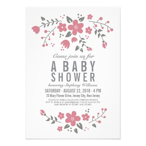 Pink White Pretty Floral Baby Shower Invite Girl Invites