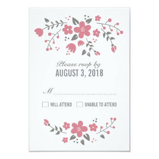 Pink White Pretty Floral RSVP Card Invitation