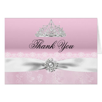 Pink & White Princess Tiara Thank You Card