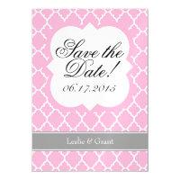 Pink White Quatrefoil Save The Date Magnet Magnetic Invitations (<em>$3.35</em>)