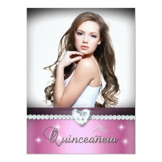 Pink White Quinceanera 15 Faux Diamond Photo Custom Invites