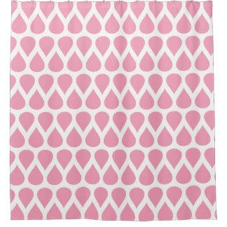 Pink White Rain Drops Dots Patterns Shower Curtain
