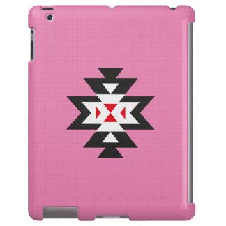 Pink White Red Aztec Navajo Pattern Linen Texture