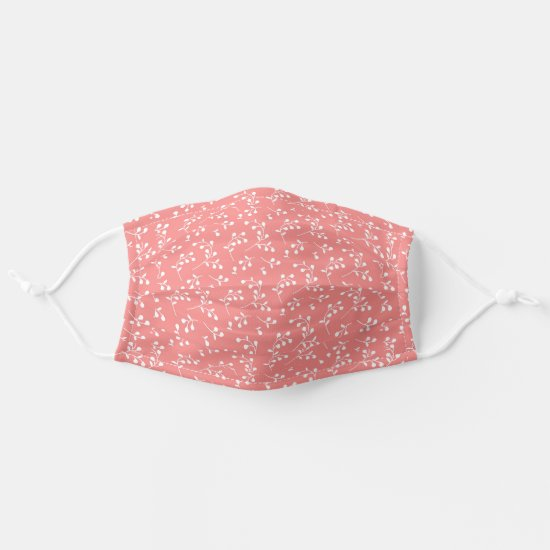 Pink & White Retro Floral Pattern Adult Cloth Face Mask