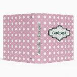 Pink, white retro polka dot cute recipe 3 ring binders