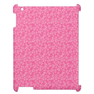 Pink White Rose Flourish Pattern iPad Case