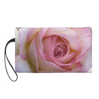 Pink & White Rose Wristlet