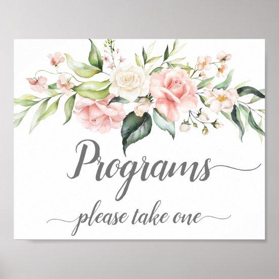 Pink White Roses Eucalyptus Wedding Programs Sign