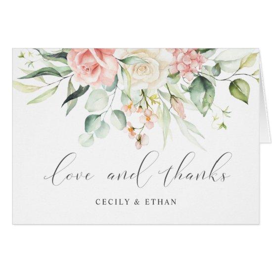 Pink White Roses Eucalyptus Wedding Thank You