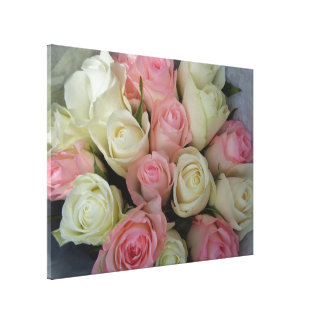 Pink White Roses Flower Bouquet Canvas Print