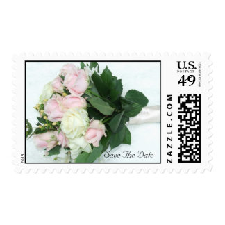 Pink White Roses Wedding Bouquet Save The Date Postage