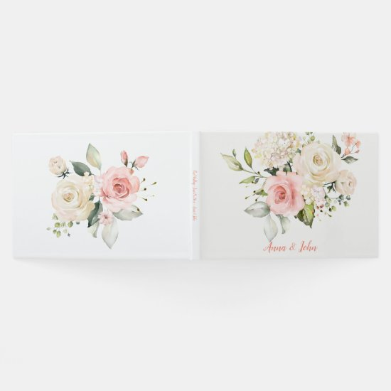 Pink White Roses White Hydrangeas Greenery Wedding Guest Book