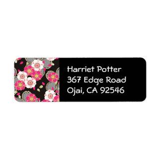 Pink & White Sakura Fine Vintage Japanese Pattern Label