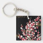 Pink & White Sakura Vintage Japanese Flower Square Acrylic Keychains