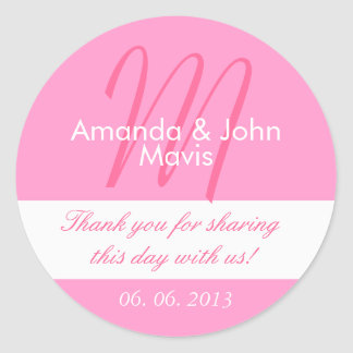 Pink White Simple Initial Wedding Favor Thank You Classic Round Sticker