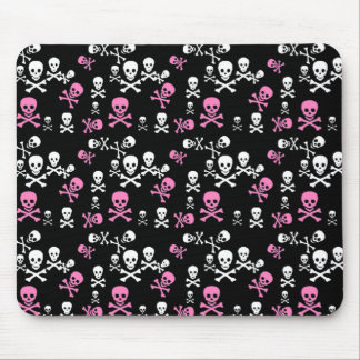 Pink & White Skull & Crossbones Black Mouse Pad