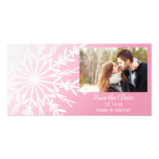 Pink White Snowflake Winter Wedding Save the Date Card