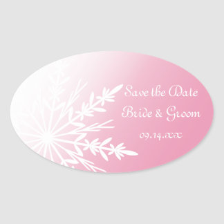 Pink White Snowflake Winter Wedding Save the Date Oval Sticker