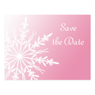 Pink White Snowflake Winter Wedding Save the Date Postcard