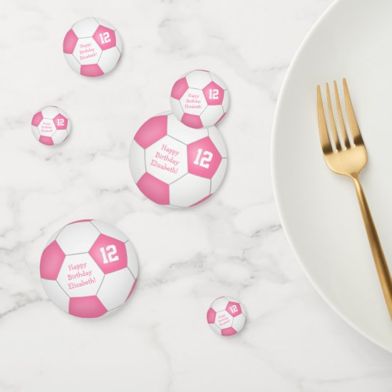 pink white soccer girly birthday party confetti