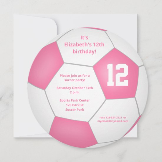 pink white soccer themed birthday party announcement