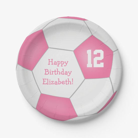 pink white soccer themed birthday party paper plate