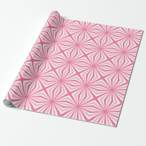 Pink white solar rays repeating patterns wrapping paper