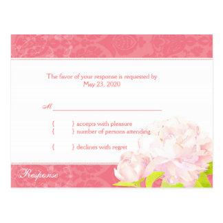 Pink White Southern Peony Wedding RSVP 4 25x5 6 Post Card