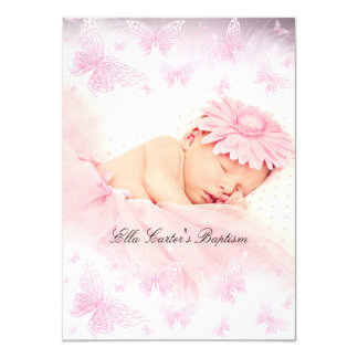 Pink & White Sparkle Butterfly Baptism Christening 4.5x6.25 Paper Invitation Card
