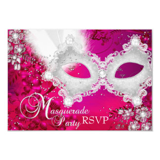 Pink White Sparkle Mask Masquerade Party RSVP 3.5x5 Paper Invitation Card
