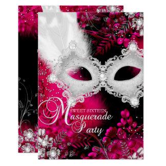 Pink & White sparkle Mask Masquerade Sweet 16 Card