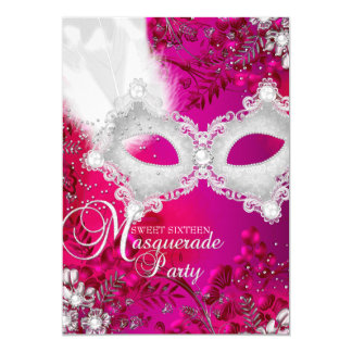 Pink & White sparkle Mask Masquerade Sweet 16 5x7 Paper Invitation Card