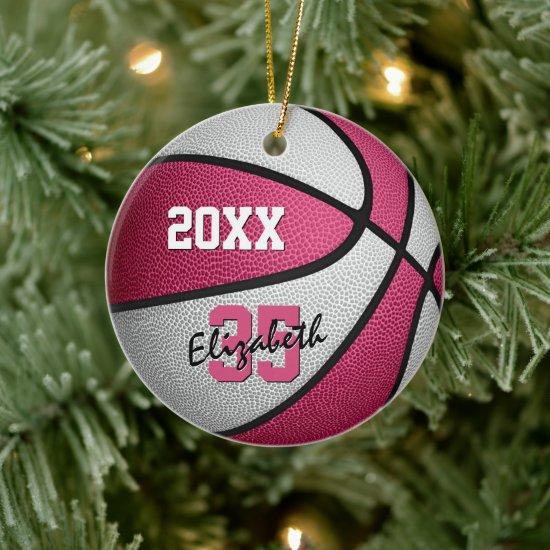 pink white sports keepsake memento basketball ceramic ornament