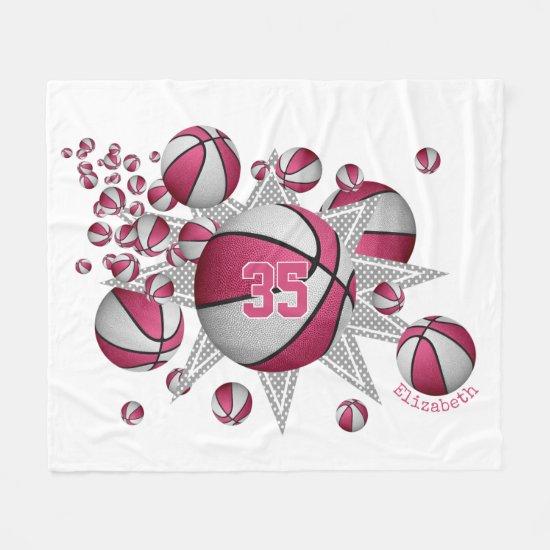 pink white sports room girls basketball blowout fleece blanket