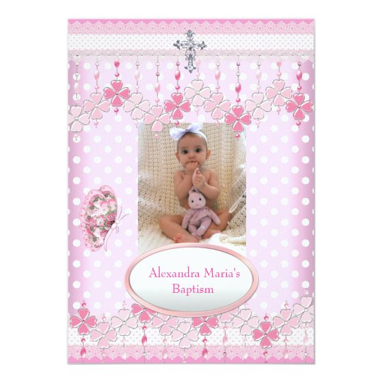 Pink White Spot  Photo Frame Cross Baptism 3 Card