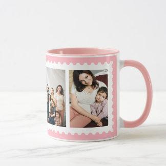 Pink White Stamp Frame 4 Family Photo Mug