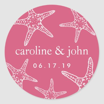 Beach Themed Pink & White Starfish Personalized Wedding Classic Round Sticker