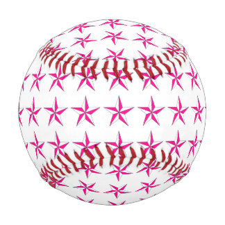 Pink White Stars Baseball