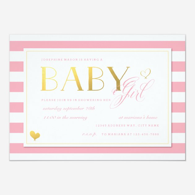Custom baby shower invites templates for girl babyfavors4u pink white stripe baby girl shower with gold 5x7 paper invitation card filmwisefo