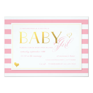 Pink & White Stripe Baby Girl Shower with Gold 5x7 Paper Invitation Card