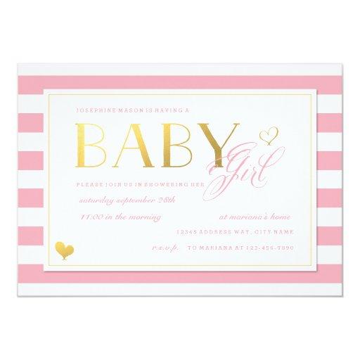 Pink & White Stripe Baby Girl Shower with Gold Custom Invitation