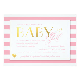 Pink & White Stripe Baby Girl Shower with Gold NEW Card