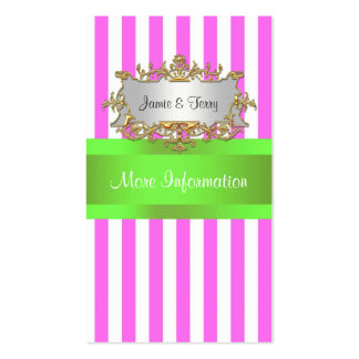 Pink White Stripe, Lime Green Ribbon Business Cards