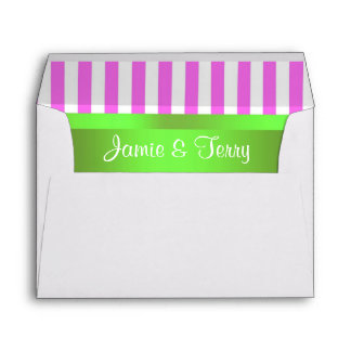 Pink White Stripe Lime Green Ribbon Fancy Envelope