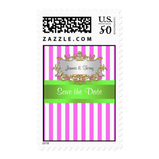 Pink White Stripe, Lime Green Ribbon Gold Invite Postage