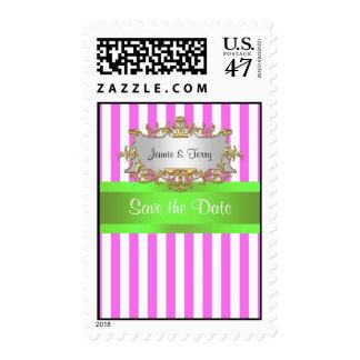 Pink White Stripe, Lime Green Ribbon Gold Invite Postage Stamp