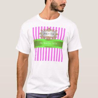 Pink White Stripe, Lime Green Ribbon T-shirt